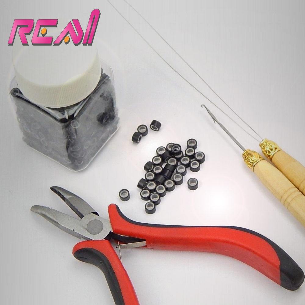 1 Set Micro Ring Hair Extension Kits 1pc Remove Plier Pulling Needle Loop Threader 1000pcs Silicone