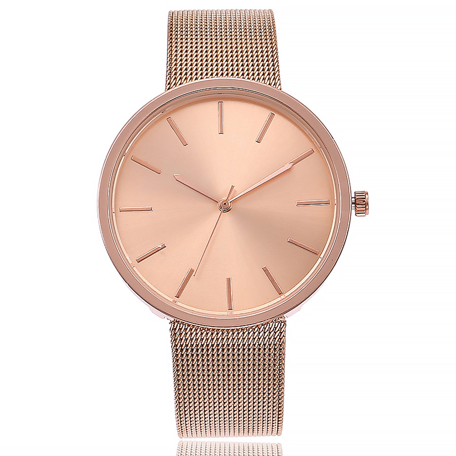 Doreen Box Quartz Wrist Watches Rose Gold Color Net Strap Round Fashion For Women Battery Included 22cm(8 5/8