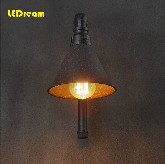 Industrial retro nostalgia American creative loft stairs bar lamp, wrought iron wall lamp, lanterns of single head conduit style american retro industrial pipes creative personality hallway stairs restaurant bar single head iron led wall lamp ac220v