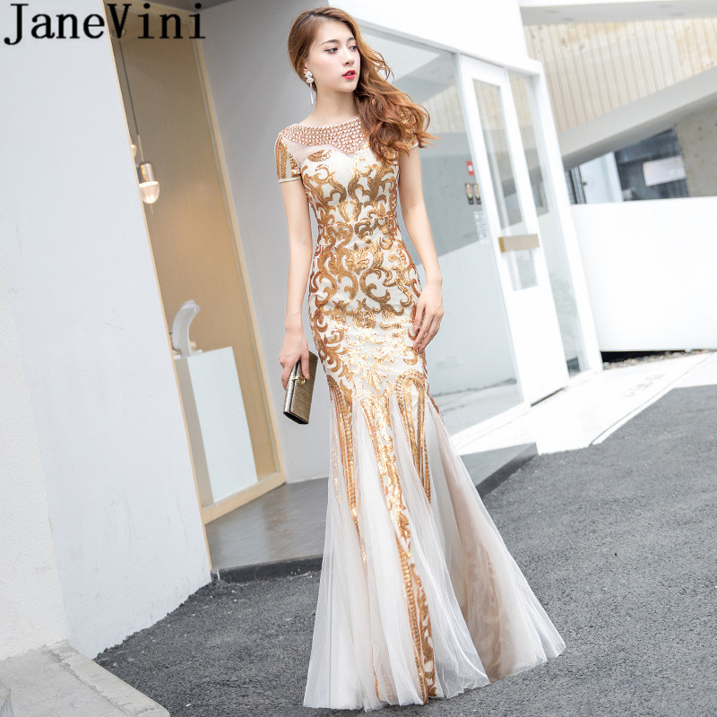 JaneVini Sparkly Champagne Gold Sequins Mermaid   Bridesmaids     Dress   Ladies Long   Dress   For Wedding Party Crystal Prom   Dresses   2019