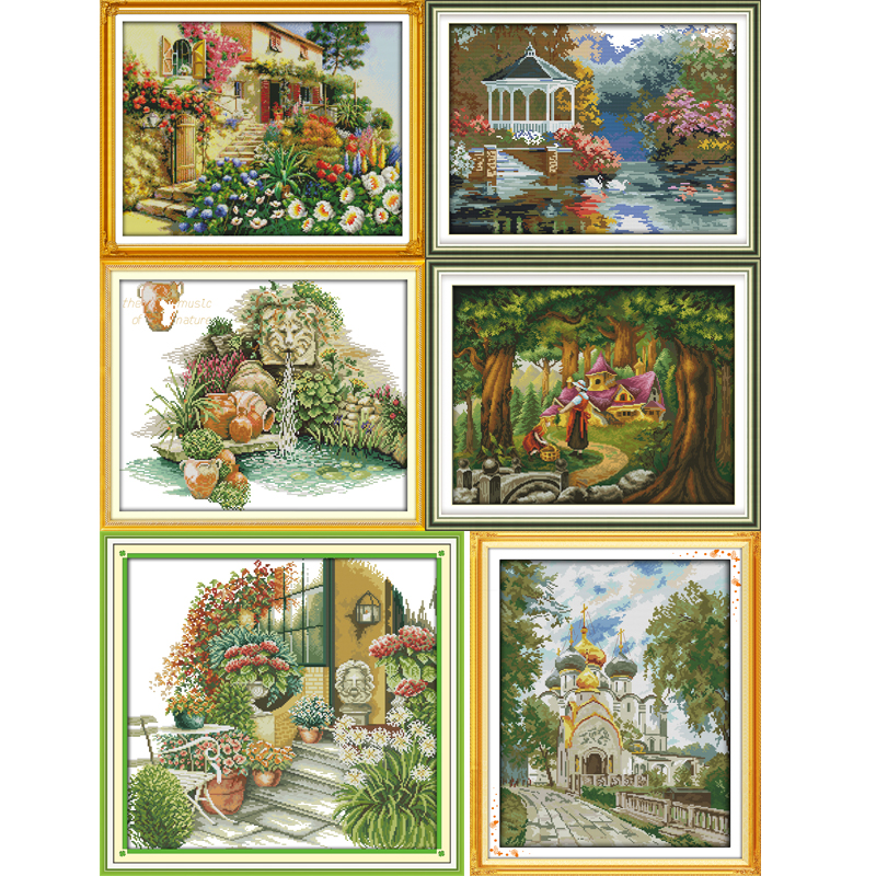 Joy Sunday Beautiful view Series Counted Cross Stitch kits DIY Handwork 14CT and 11CT For Embroidery Home Decor Needlework image