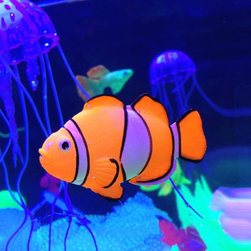 1 Pc New Clown Fish Aquarium Fish Tank Decor Glowing Effect Figurines Miniatures  Home Decoration