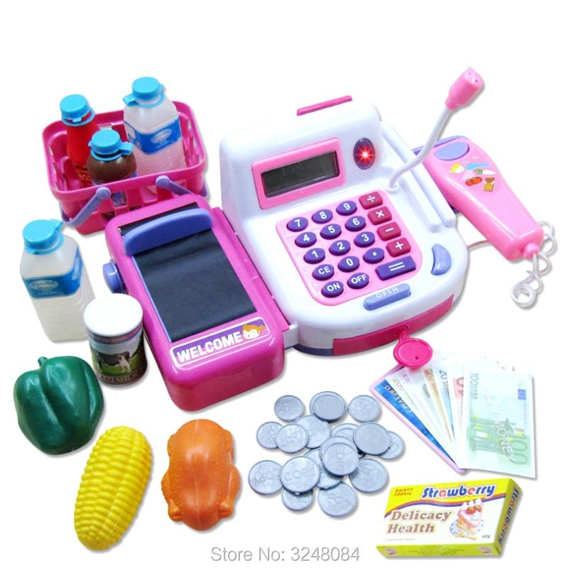 1 Pcs New Pretend Play Cash Register Toy Supermarket Toys Wi