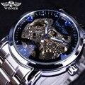 Vencedor Relógio Mecânico Dos Homens Top Marca de Relógio de Aço Esqueleto Oco Relógio Mecânico Automático Dos Homens Steampunk Engrenagem Relógio Saat Erkek