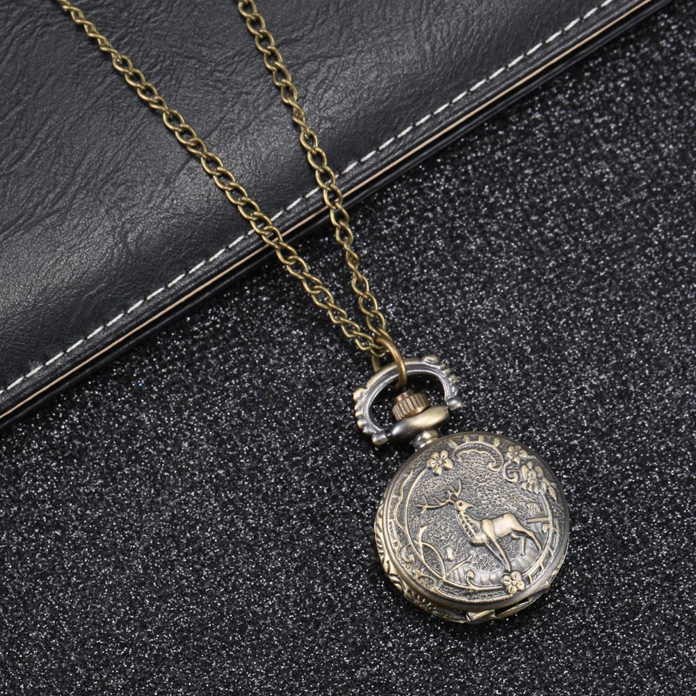Fashion Vintage Retro Quartz Pocket Watch Alloy Deer Carving Sweater Chain Necklace Pendant Clock Gifts LXH