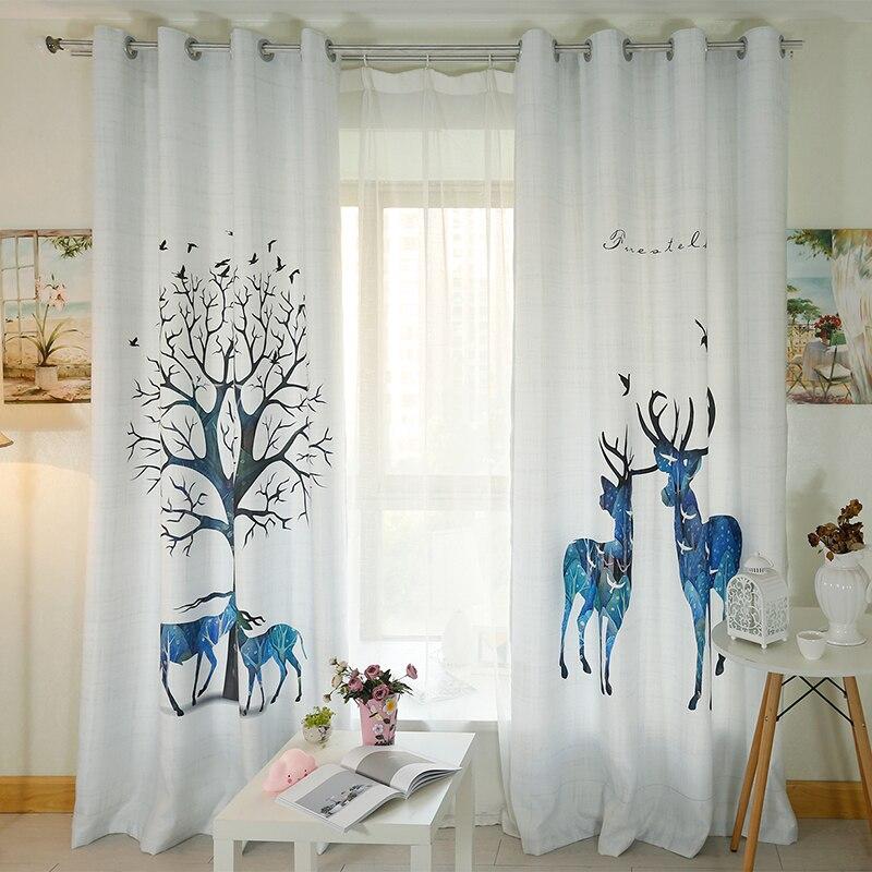 Rideaux de fenêtre sur mesure pour salon chambre pépinière enfant enfants chambre fenêtre Tulle rideaux transparents wapiti cerf blanc Caribou