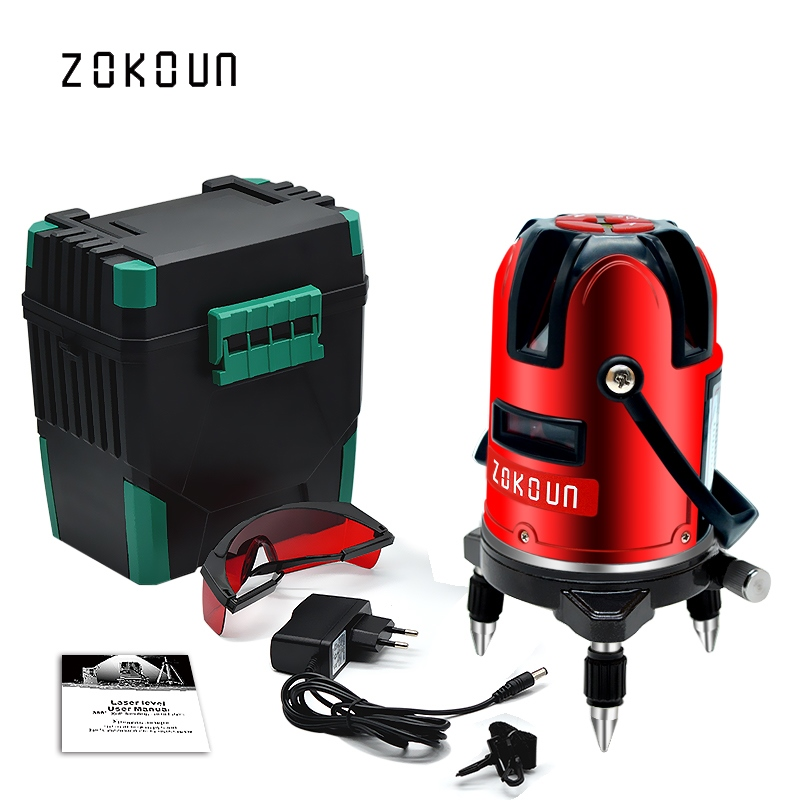 EU plug red 5 lines 6 points self-leveling 360 rotary cross line laser level tilt slash and detector outdoor mode available цена