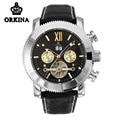 Mg. orkina tourbillon calendário luminosa relógio mecânico de couro preto relógio automático dos homens de luxo relógios de pulso à prova d' água
