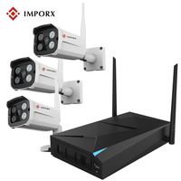 IMPORX 4CH 720P IP NVR 3PCS 1200TVL IR Night Vision Outdoor CCTV Camera 24 LEDs Home