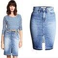 2016 Cotton high waist skirts irregular Knee-Length Bust skirt saia women skirts faldas denim skirt jupe Slim Front open fork