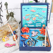 Magnet Fishing Toy Kids Sea Fishing Game Wooden Fish Rod Sea Animals Cognition Early Educational Interactive Toy wooden magnetic educational intelligence development fishing game kids toys magnet fish kid educational toy go fishing game w201