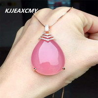 KJJEAXCMY Boutique Jewelry Natural Pink Chalcedony Pendant Sterling Silver Female S925 Customized Wholesale