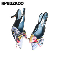 Sandals Genuine Leather Multi Colored High Heels Pumps Kawaii Luxury Women Shoes Slingback Strap Ladies Bow Pointed Toe Thin