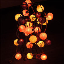 2.5M 20 Ball Fabric Cotton Ball String Fairy Christmas Light Xmas Wedding Holiday Party Home Kids Bedroom Decoration Lamp Bulb