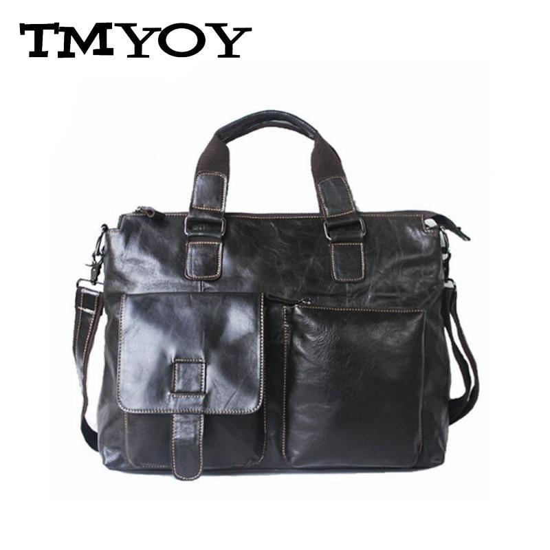 ФОТО TMYOY 2017 Genuine Leather Men Briefcases Bags Handbag Vintage Men Fahion Messenger Bags Travel Bag Portfolio Laptop Bag DB5494-