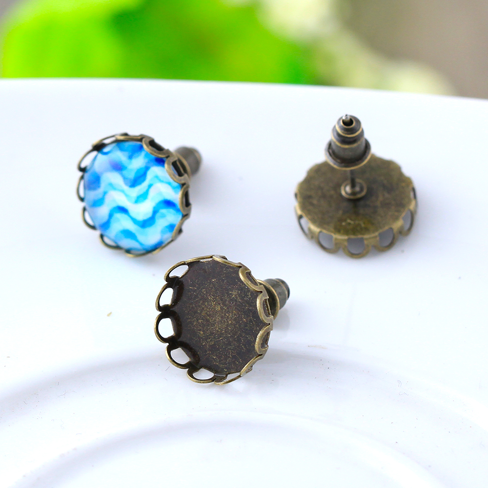 30pcs 12mm Copper Brass Antique Bronze Lace Ear Studs Earring Base Earring  Findings Cabochon Setting Accessories