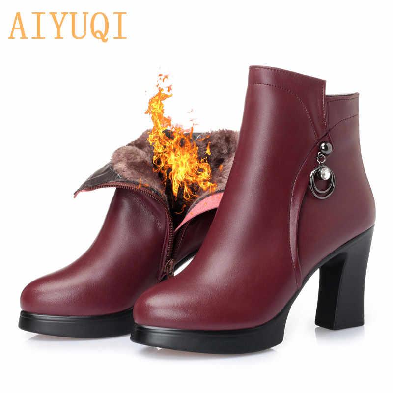 AIYUQI hakiki deri çizmeler kadın ayakkabıları artı boyutu 43 yuvarlak ayak kare topuk ayakkabı moda bayan rahat yarım çizmeler