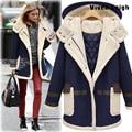 Плюс размер ветровка женщин зимняя куртка шерсти теплый пальто Мягкий хлопок Куртка пальто манто femme hiver abrigo mujer зима