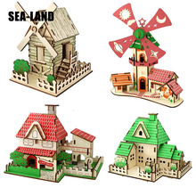 New 3D Diy Wooden Puzzle Toys For Family Games Windmill cottage Educational Adults Montessori Toy Hobby Gift Kids