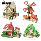 New 3D Diy Wooden Puzzle Toys For Family Games Windmill cottage Educational Puzzle For Adults Montessori Toy Hobby Gift For Kids