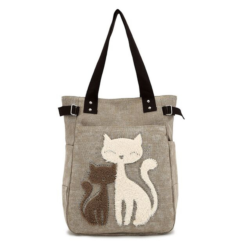 2017 Fashion Women s Handbag Cute Cat Tote font b Bag b font Lady Canvas font