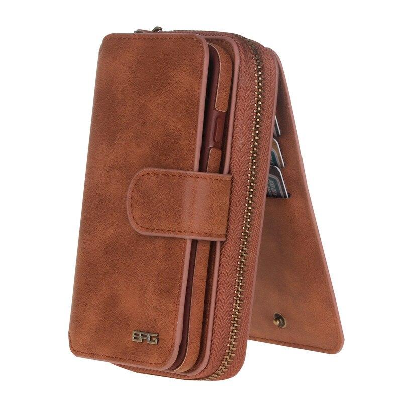 Роскошные BRG ретро кожаный бумажник чехол для iPhone 5 5S SE 6 6 S плюс 7 7 Plus откидная крышка несколько слотов для карт отсоединены сумки