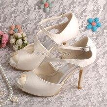 Wedopus MW317ผู้หญิงแพลตฟอร์มรองเท้าเจ้าสาวแต่งงานส้นเท้าเปิดไอวอรี่ซาติน