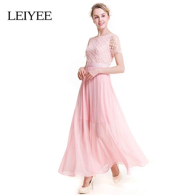 LEIYEE Mujeres Perla de Encaje Floral Vestido Maxi Del Verano de ...
