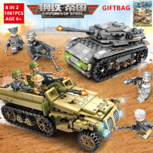 1061Pcs Military Tank Truck Model Building Blocks Sets  Technic Army WW2 Soldiers Bricks Toys for Children