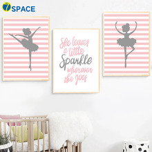 Ballet dancing Girl Quotes Nordic Poster Wall Art Canvas Painting Posters And Prints Nursery Pictures Baby Room Decor