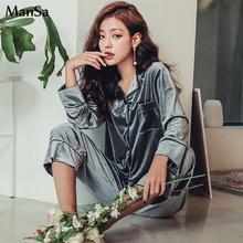high quality 2018 Autumn Winter Warm Pajama Set Women pajamas Deep Gold Velvet Sexy Homewear Pijama