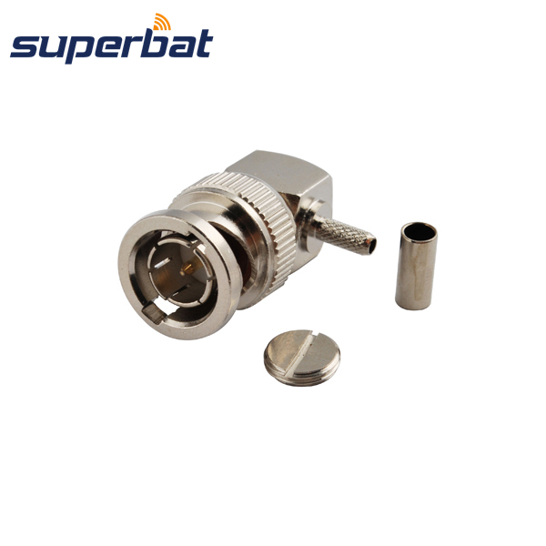 Superbat BNC Crimp Male Plug Right Angle connector 75 ohm for Coaxial Cable RG179,RG174,RG316,LMR100