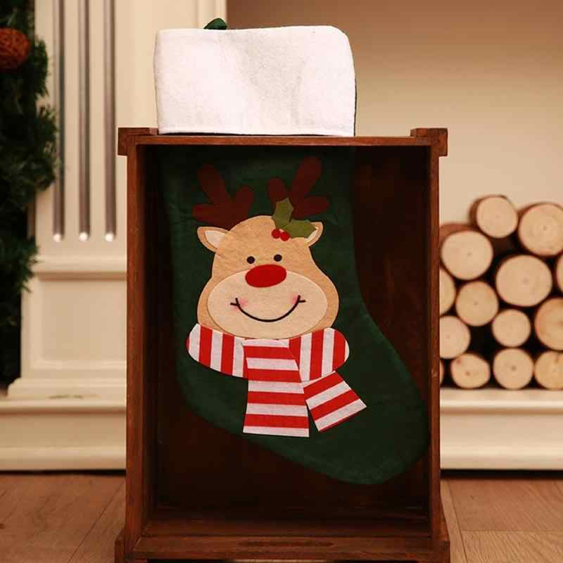 Новогодние украшения, Подарочный Рождественский чулок, сумка Noel со снеговиками, с северными оленями, носки Санта-Клауса, натальные Рождественские елки, декоративная конфета, подарки