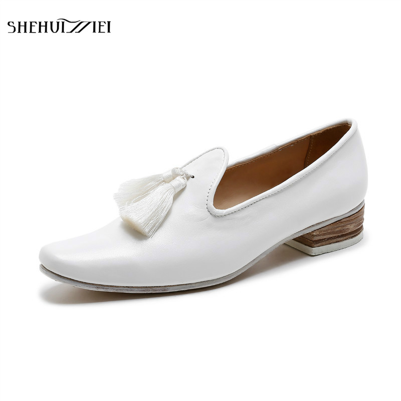 SHEHUIMEI 2018 NEW Fashion Tassel Women Flat Loafer Shoes Square Toe Woman Flats Casual Comfortable Women Oxfords Leather Shoes 2017 summer new women fashion leather nurse teacher flats moccasins comfortable woman shoes cut outs leisure flat woman casual s