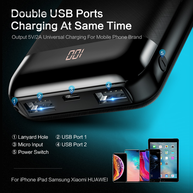 FLOVEME Mini 10000mAh Power Bank For iPhone Samsung Mobile Phone Charger Dual External Battery Pack Portable Charger Powerbank 1