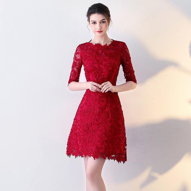 b3e17846324 2017 new arrival stock plus size high school 8 grade college graduation  dresses beautiful elegant lace short dark red a line hot