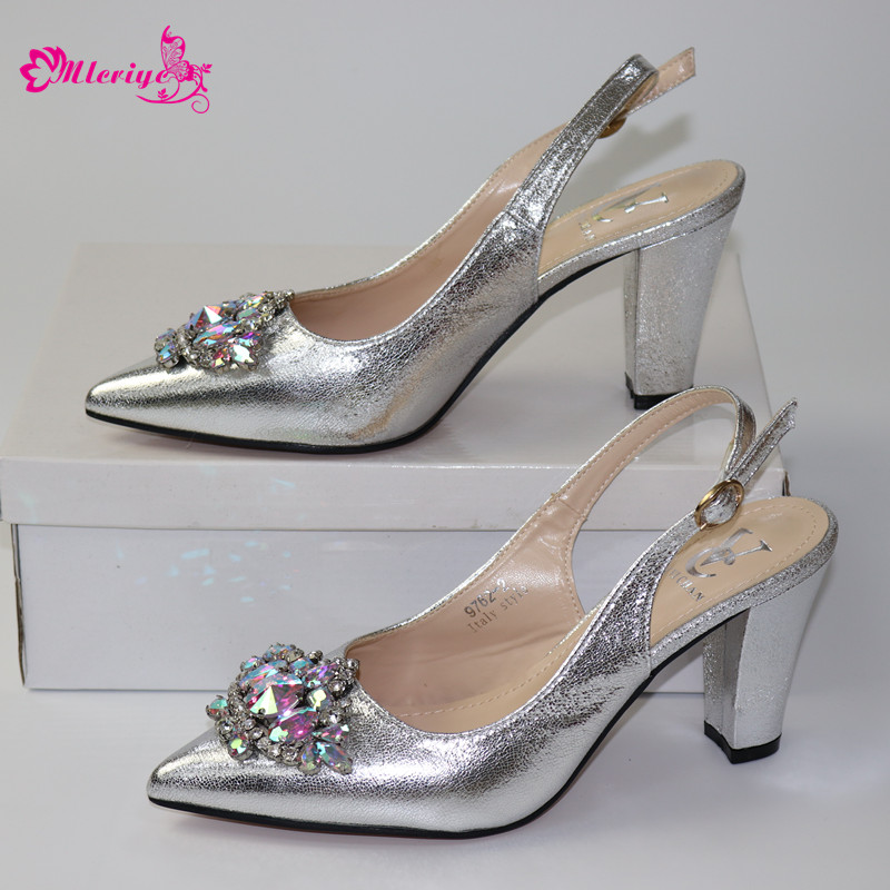 New Silver Elegant Rhinestone Wedding Shoes Italian Women Sandals Shoes For Party African Wedding Low Heels Slip On Women Pumps