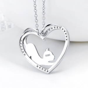 Image 4 - YFN Necklace 925 Sterling Silver Necklace Heart Cat Crystal Zircon Pendant Womans Jewelry Necklace Girls Gift Graduation Gifts