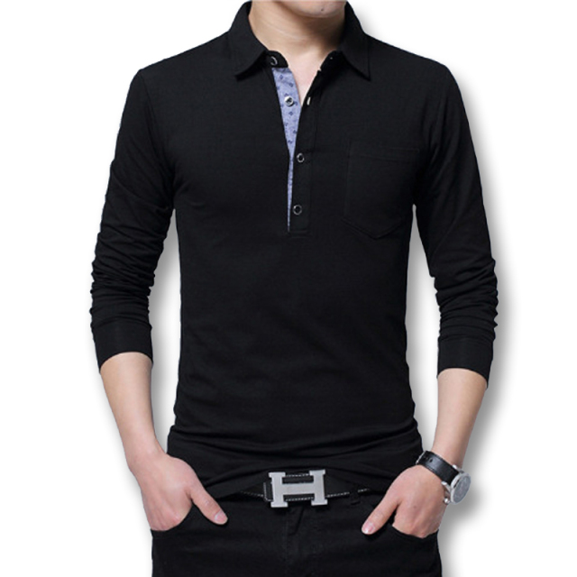 Icpans Polo Shirt Men Long Sleeve 2018 Casual Cotton Fashion Polo Shirt Men Big Size 5xl 4XL Slim White BlackTee Tops