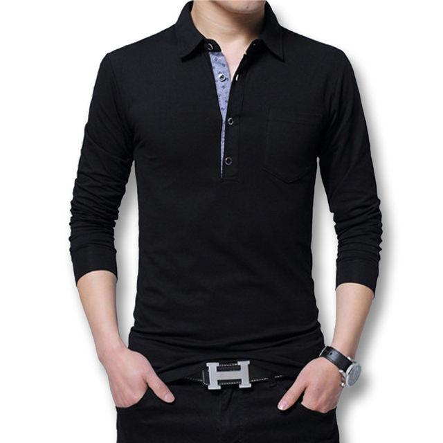 Icpans Polo Shirt Men Long Sleeve 2018 Casual Cotton Fashion Polo Shirt Men Big Size 5xl 4XL Slim White BlackTee Tops