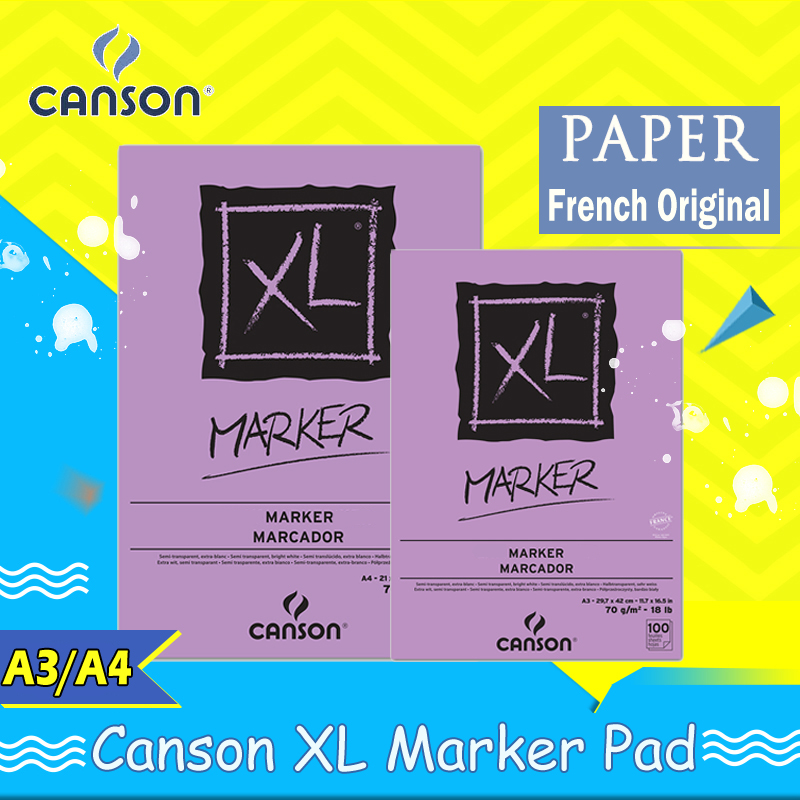 Canson XL Series Marker Glue Bound Pad 70gFold Over felt painting notepad french original paper marble print notebooks A3 A4 A5