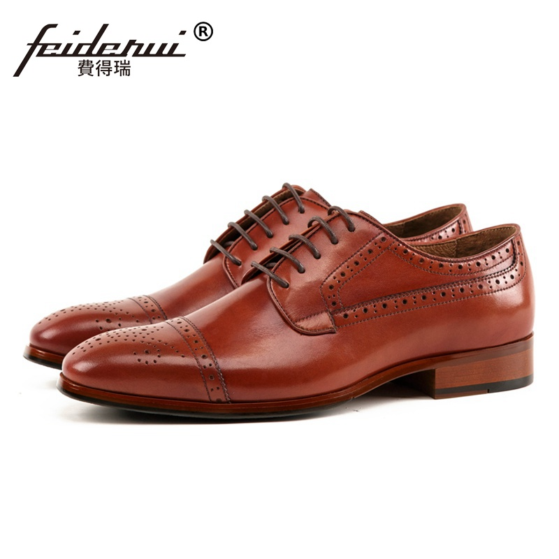 Luxury Designer Round Toe Man Formal Dress Semi Brogue Shoes Genuine Leather Carved Men's Handmade Wedding Party Flats SS218 british designer handmade genuine leather men s oxfords round toe man semi brogue flats formal dress wedding party shoes hqs101