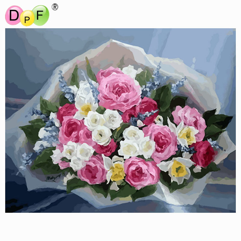 DPF DIY oil Painting A bouquet of roses Paint On Canvas Acrylic ...