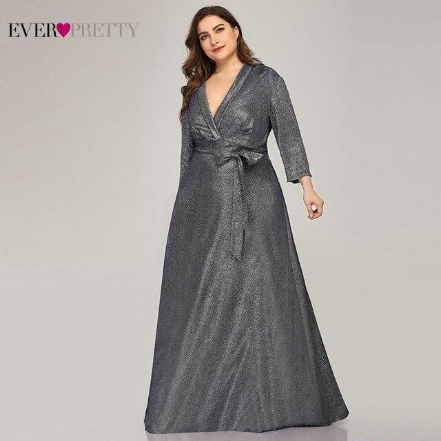 Sparkle Plus Size Evening Dresses Long Ever Pretty A-Line V-Neck Bow Sashes Navy Blue Elegant Formal Dresses Robe De Soiree 2019