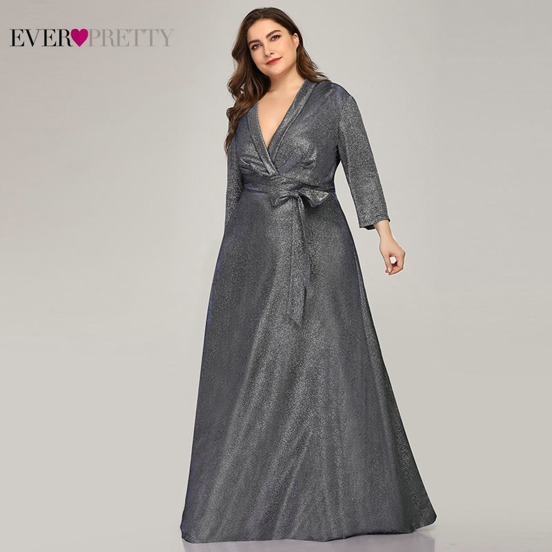 Sparkle Plus Size Evening Dresses Long Ever Pretty A-Line V-Neck Bow Sashes Navy Blue Elegant Formal Dresses Robe De Soiree 2020
