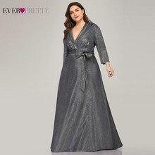 Sparkle Vestidos De Noche De talla grande, Vestido largo De una sola línea con cuello De pico y fajas con lazo, vestidos elegantes formales De color azul marino 2020