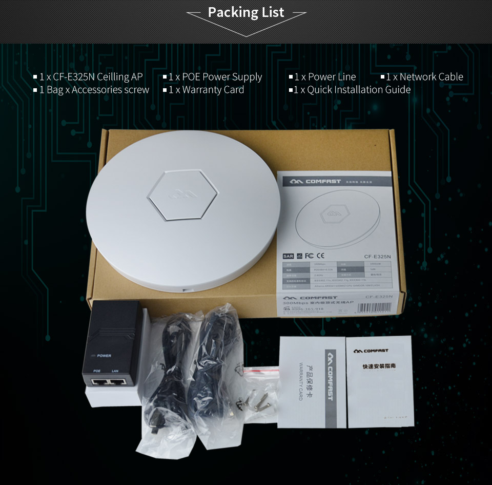 COMFAST Wifi Router 300Mbps Wireless Access Point 2.4G Amplifier wifi access point 48V support openWRT ddwrt CF-E325N comfast ac200 orange os system full gigabit wifi control ac gateway routing wireless roaming wifi coverage project manager route