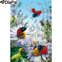 DIAPAI 5D DIY Diamond Painting 100% Full Square/Round Drill Ladybug flower Embroidery Cross Stitch 3D Decor A21441