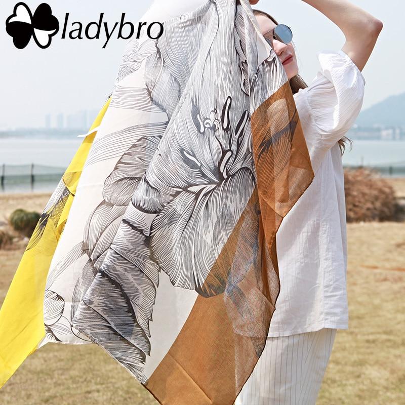 Ladybro Winter Women Scarf Pashmina Lotus Print Tassel designer Scarf Female Cotton Big Scarves And Shawl Stole Foulard Femme