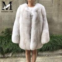 Women Real Fox Fur Coat Female Winter Thick Warm Overcoat Whole Skin 2017 Genuine Fur Jacket Pink Color Natural Fox Fur Coat
